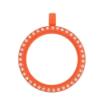 30mm Orange Acrylic Floating Locket with Crystals and Matching Metal Ball Chain